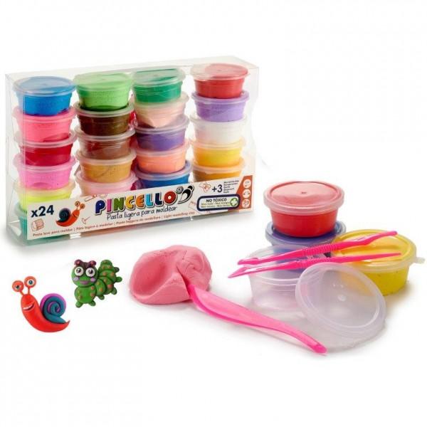 Modelliermasse Pincello 550 g bunt - 24 Farben
