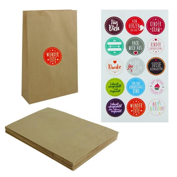 12 x Papiertüten für Geschenke inkl. Aufklebern