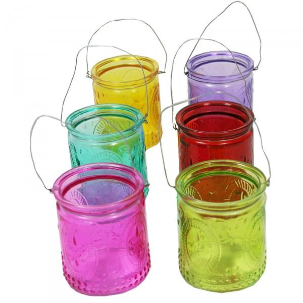12 Stück Windlichter aus buntem Glas mit Henkel