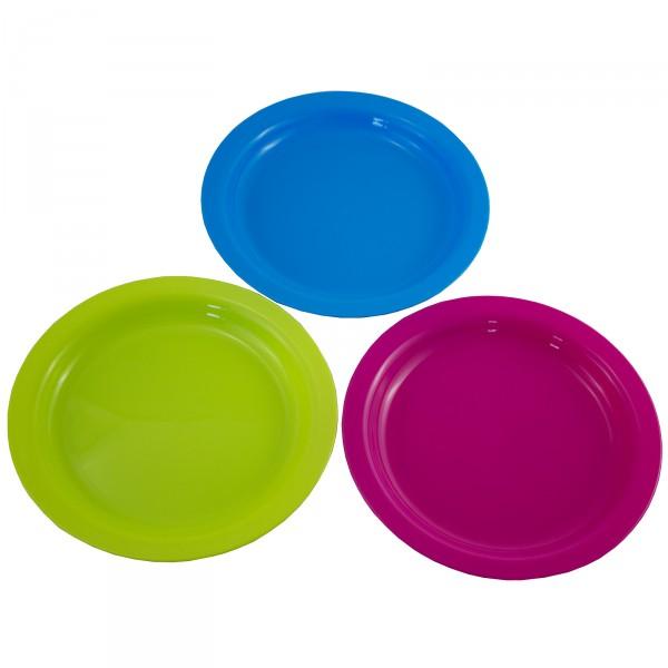 12 x Teller aus Kunststoff, farbig sortiert Ø 21 cm