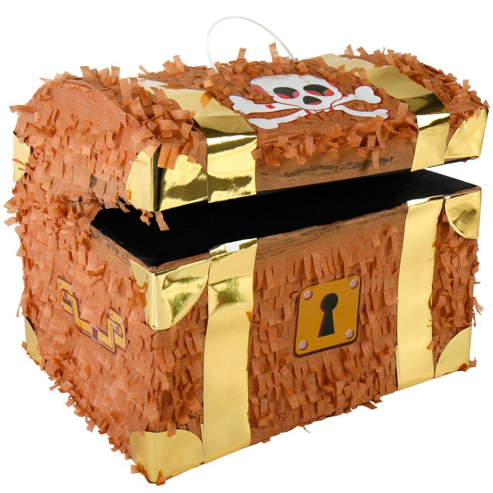 ein Beutel Konfetti Pinata Piraten Schatztruhe aus Pappmache XXL inkl