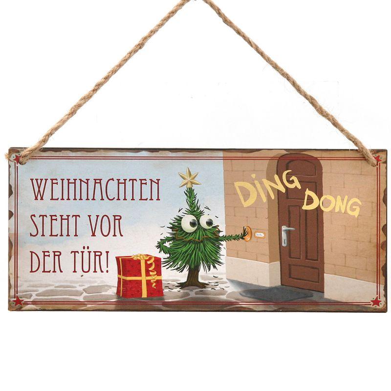 metallschild weihnachten steht vor der t r t rschild. Black Bedroom Furniture Sets. Home Design Ideas